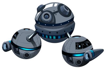 fantasy alien: Round spaceship on white illustration Illustration