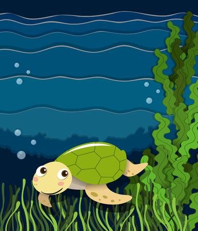 aquatic plant: Turtle swimming under the ocean illustration Illustration