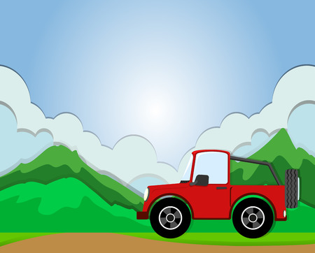 jeep: Jeep riding on the road illustration