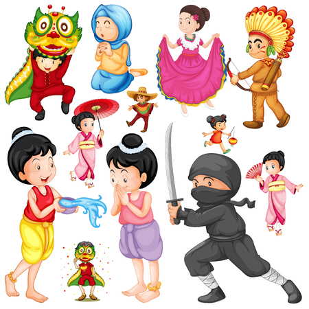indian student: People in different costume based on culture illustration Illustration