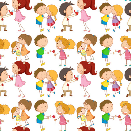 little boy and girl: Seamless boys and girls being in love illustration