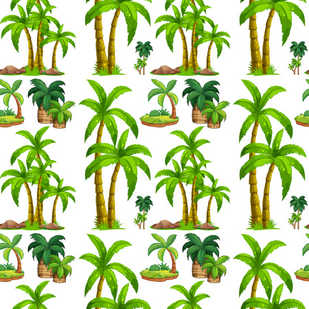 Seamless palm trees and island illustration