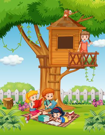 Children reading books in the park illustration Reklamní fotografie - 50162426