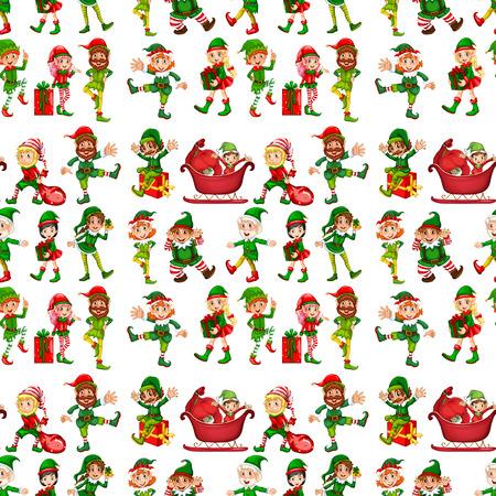 elves: Seam elves with sledge and presents illustration Illustration