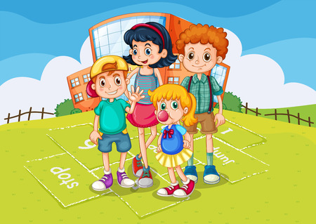 children art: Children standing in the school park illustration