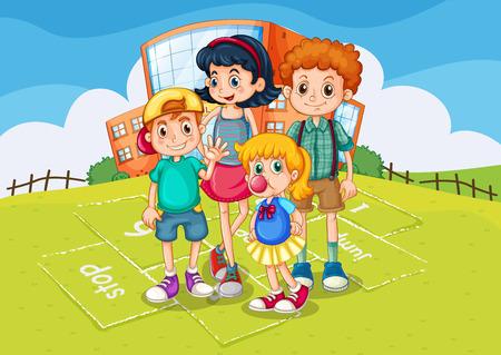children school clip art: Children standing in the school park illustration