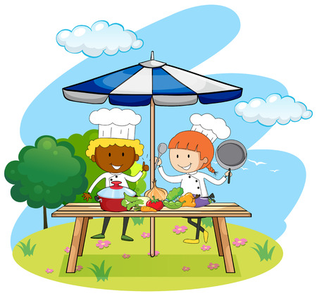 female chef: Chefs cooking in the park illustration