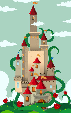 thorny: Castle towers with thorny plant illustration Illustration