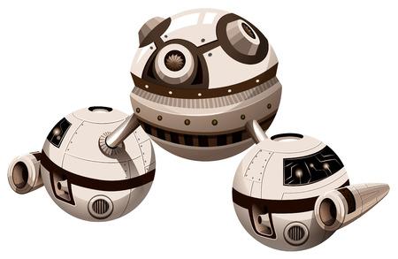 fantasy alien: Round spaceship with engine illustration