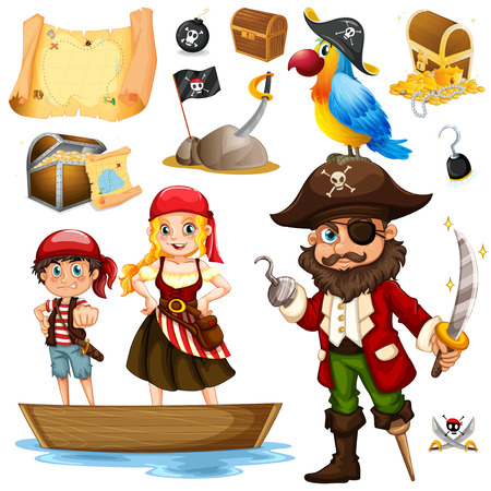 pirate crew: Pirate and crew on ship illustration Illustration
