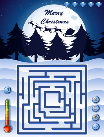 christmas theme: Maze game template with christmas theme illustration Illustration