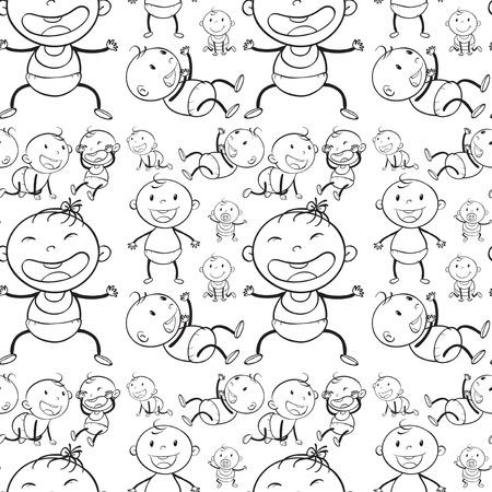 bebes ni�as: beb�s sin costura en diferentes acciones ilustraci�n Vectores