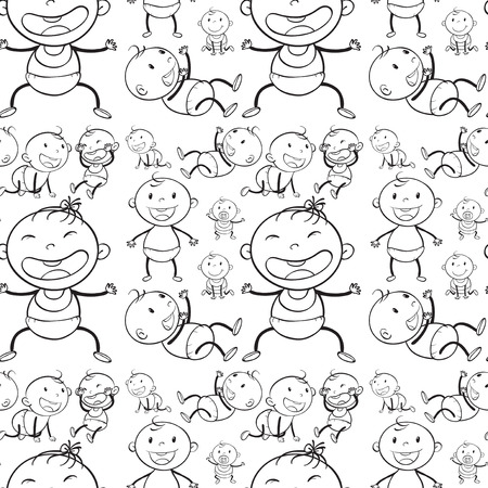 paper art: Seamless babies in different actions illustration Illustration