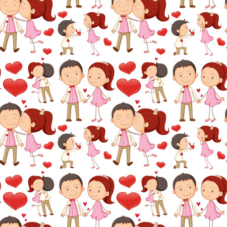love kiss: Seamless couple kissing and hugging illustration