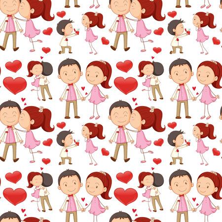 innamorati che si baciano: Senza soluzione di continuità coppia baciare e abbracciare illustrazione