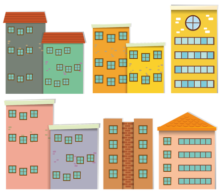 residental: Different design of buildings illustration
