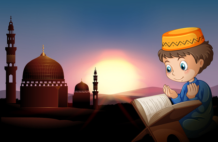 mosque illustration: Muslim boy praying at mosque illustration