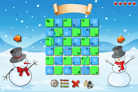 religious celebration: Game template with snowman  illustration Illustration