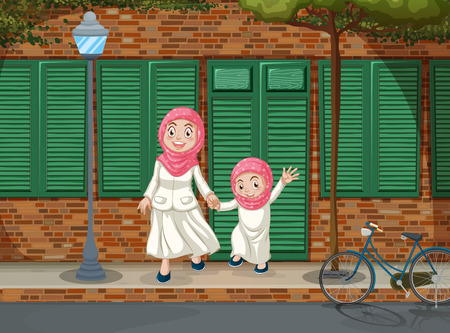 islam: Muslim girls on the sidewalk illustration Illustration
