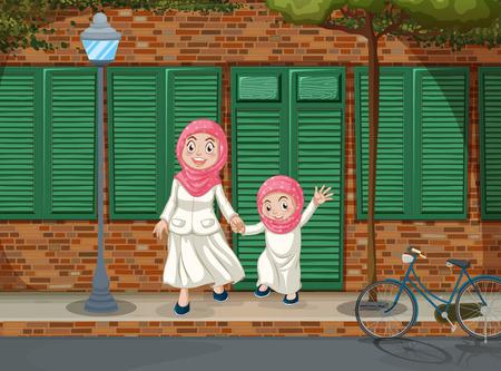 islamic scenery: Muslim girls on the sidewalk illustration Illustration