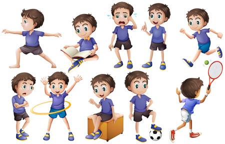 niño parado: Muchacho que hace diferentes actividades ilustración