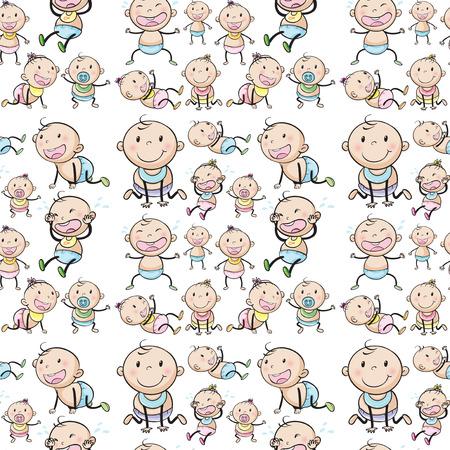 Nahtlose Babys in verschiedenen Positionen Illustration