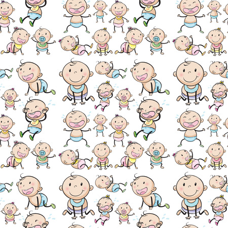 Seamless babies in different positions illustration