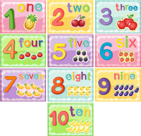 one by one: Flashcard number one to ten illustration