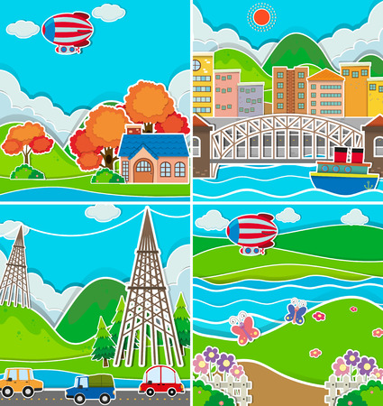 residential neighborhood: Four scenes of city and countryside illustration Illustration