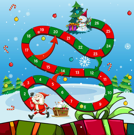 Game template with Santa and tree illustration
