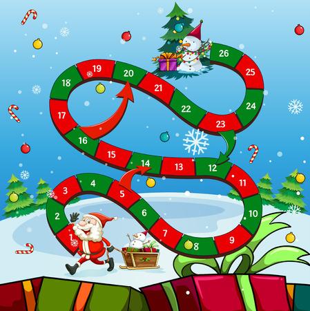 Game template with Santa and tree illustration Reklamní fotografie - 50162667