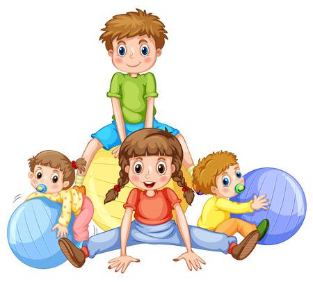 bebes ni�as: Los ni�os y ni�as jugando con pelotas de ilustraci�n