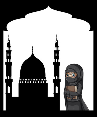 sillhouette: Muslim girl and sillhouette mosque background illustration
