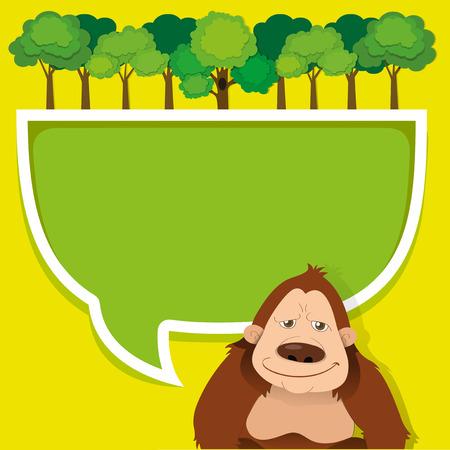 gorila: Border design with gorila and trees illustration