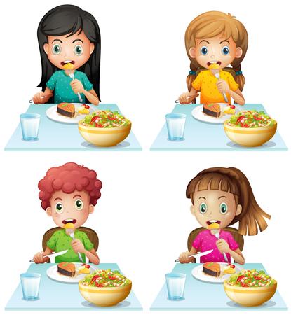 comiendo: El muchacho y niñas que comen en la mesa de comedor de la ilustración