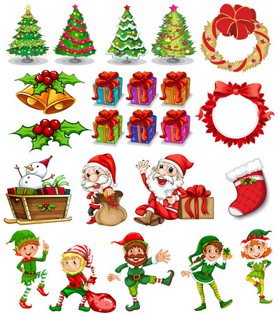 duendes de navidad: Tema de Navidad con Pap� Noel y adornos ilustraci�n Vectores