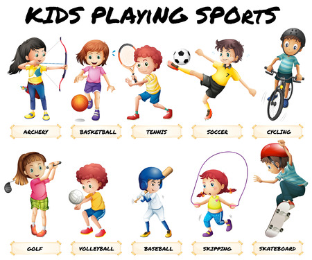 balones deportivos: Los niños y niñas que juegan el ejemplo deportes Vectores