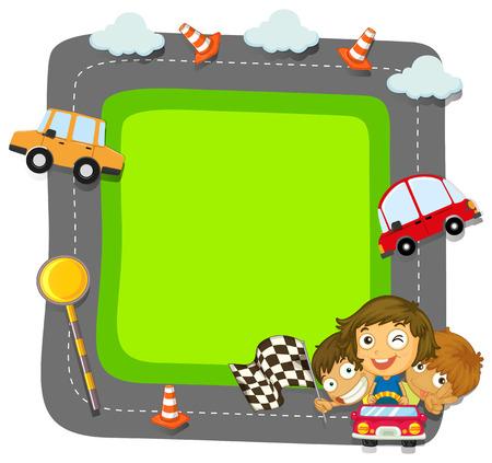 Border design with kids and traffic illustration