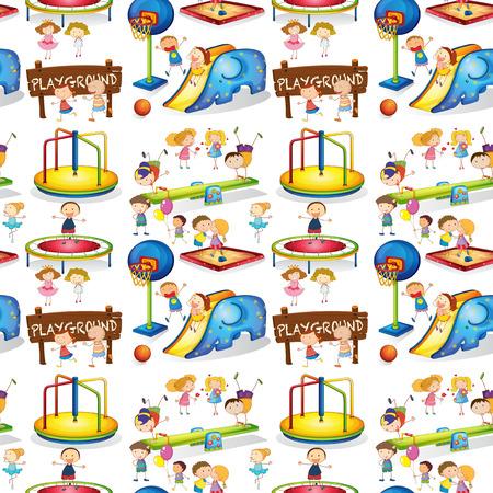 balon de basketball: inconsútil de los niños que juegan en el parque infantil de la ilustración