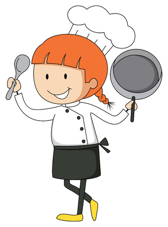 female chef: Female chef with pan and spatula illustration Illustration