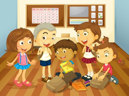 studying classroom: Children learning in the classroom illustration