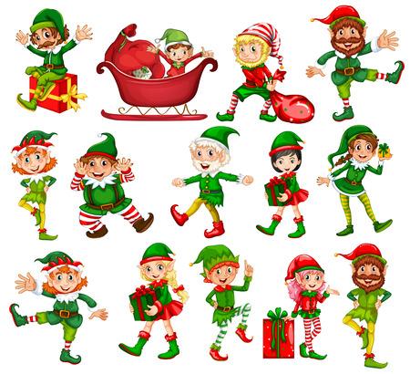 Duende de la Navidad en diferentes posiciones de la ilustración