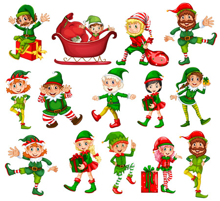 Christmas elf in different positions illustration
