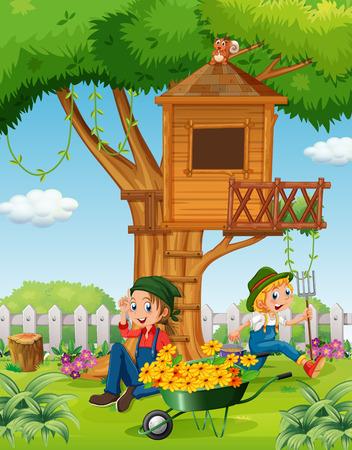 People working in the garden illustration Illustration