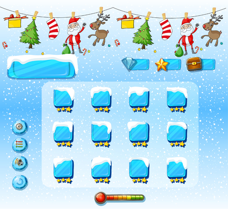 christmas sock: Game template with christmas ornaments illustration