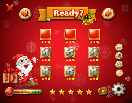 educated: Christmas theme on computer game illustration Illustration