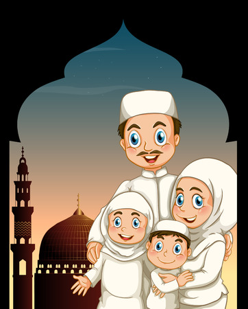 son of man: Muslim family by the mosque illustration Illustration