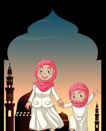 religious backgrounds: Muslim girls holding hands illustration Illustration