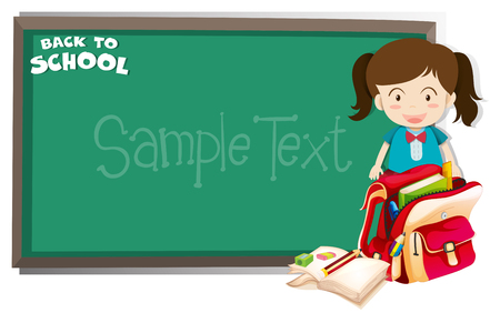 book background: Girl and backpack in front of blackboard illustration