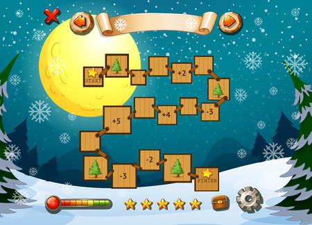 winter fun: Game template with winter theme illustration